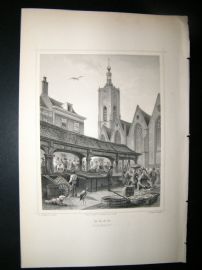 Holland Netherlands C1850's Antique Print. Haag, fish market